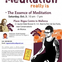 <b>New Workshop on The Essence of Meditation in Rigpa Mallorca,</b>3rd October 2015